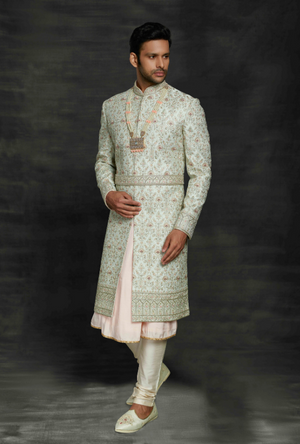 Aqua and Cream Mens Sherwani
