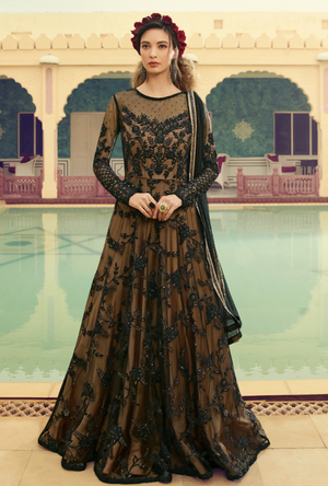 Black Party wear gown - Desi Royale