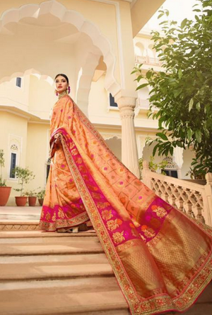 Peach Silk Saree - Desi Royale