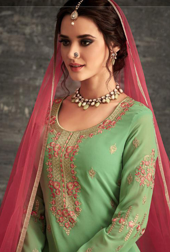 Light Green Salwar Kameez - Desi Royale