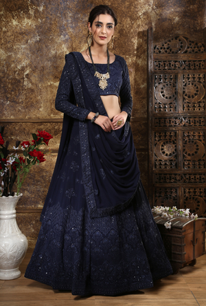 Navy Blue Bridesmaids Lehenga Choli - Desi Royale
