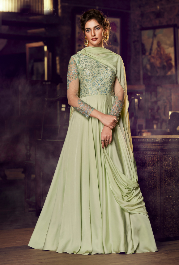 Pista Green party wear gown suit