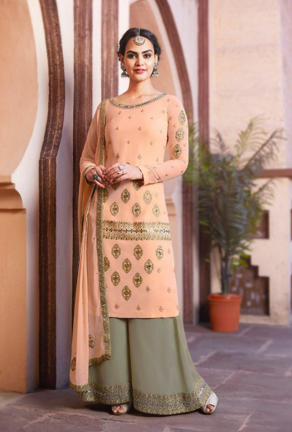 556d4cdb58 Peach and Sage Green Sharara Salwar Kameez - Desi Royale