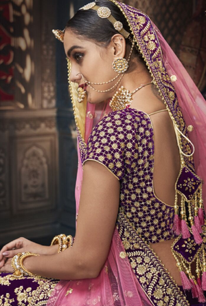 Purple Designer Bridal Lehenga Choli - Desi Royale