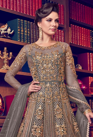 Grey Anarkali Suit - Desi Royale