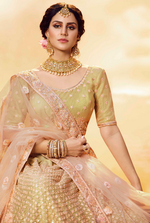 Gold and Peach Lehenga Choli