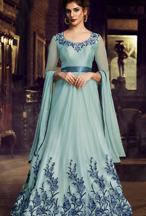 Sky Blue party wear gown suit