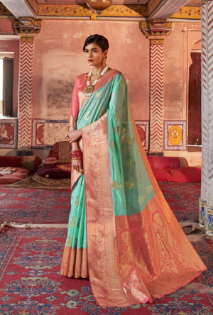 Aqua and Peach Art Silk Saree - Desi Royale