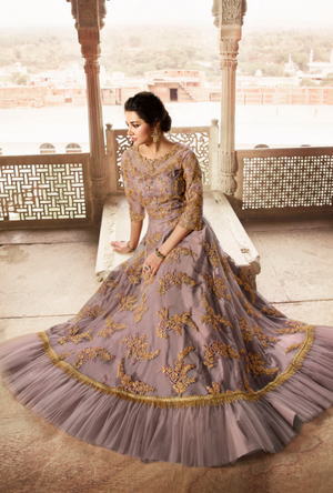 Dusty Mauve Bridal Anarkali Suit - Desi Royale