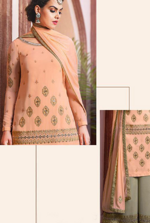 Peach and Sage Green Sharara Salwar Kameez - Desi Royale