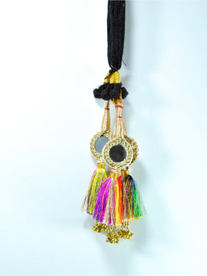 Mirror Multicolored Parandi with Bells - Desi Royale