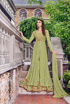 Sea Green Sharara Suit - Desi Royale