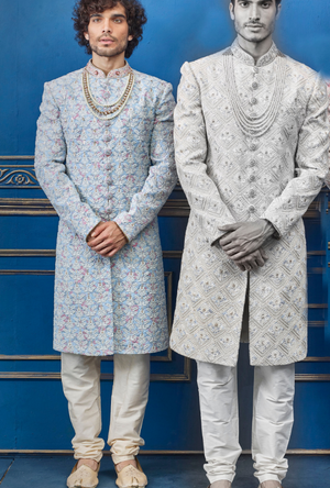 Blue and off white Mens Sherwani