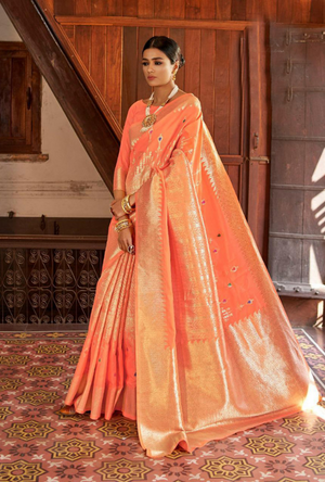 Light Orange Kansula Silk Saree - Desi Royale