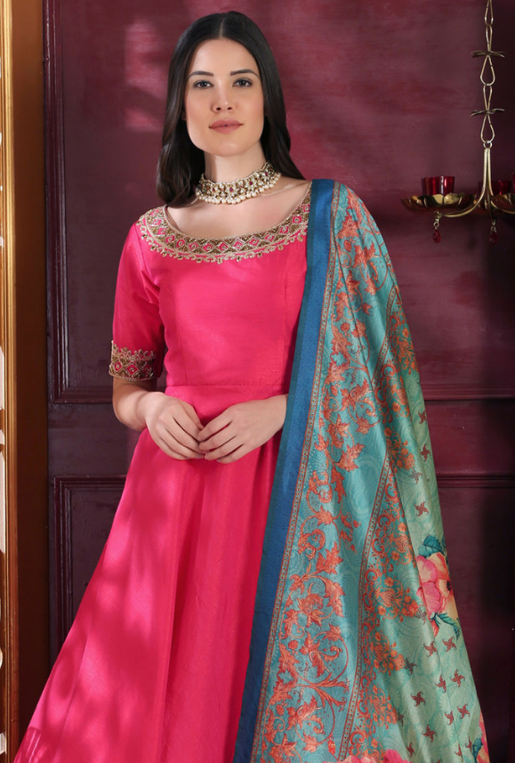 Pink Anarkali Suit - Desi Royale