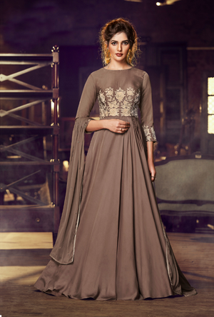Dark Beige party wear gown suit
