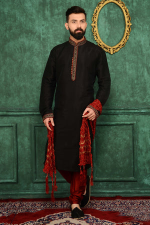 Black Mens Kurta Pajama - Desi Royale