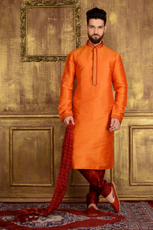 Orange Mens Kurta Pajama - Desi Royale