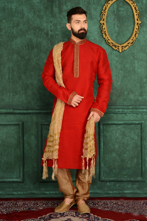 Red Mens Kurta Pajama - Desi Royale