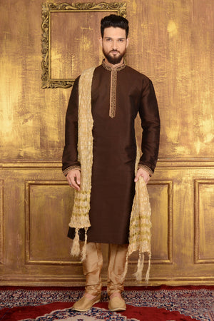 Coffee Mens Kurta Pajama - Desi Royale