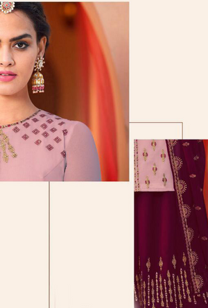 Purple and Maroon Sharara Salwar Kameez - Desi Royale