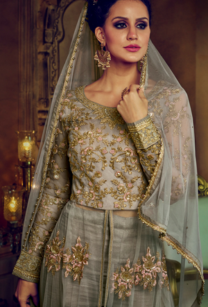 Grey Embroidered Anarkali Dress - Desi Royale