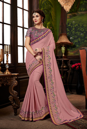 Dark Pink Saree - Desi Royale