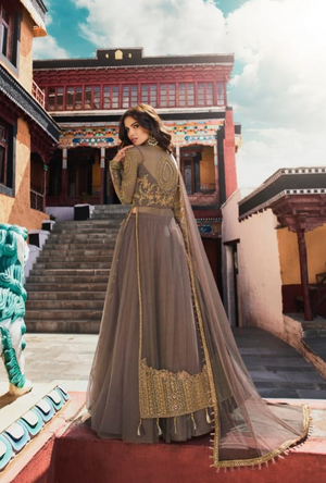 Dark Grey Designer Net Anarkali Suit - Desi Royale