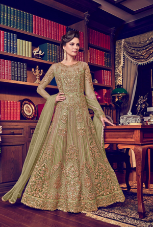 Sage Green Anarkali Suit - Desi Royale