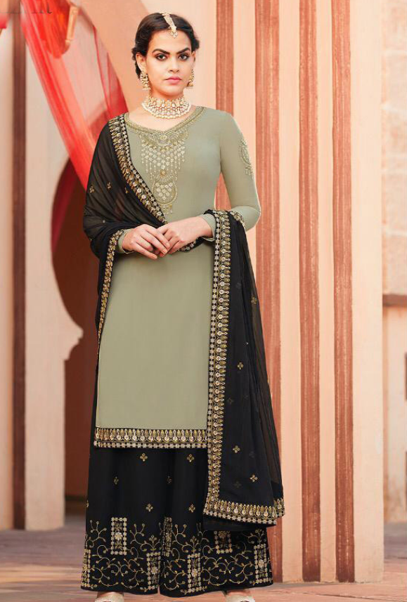 abc88f5be2 Sage Green and Black Sharara Salwar Kameez - Desi Royale