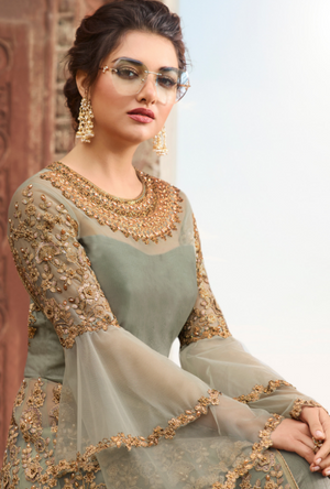 Pista Green Bridal Anarkali Suit - Desi Royale