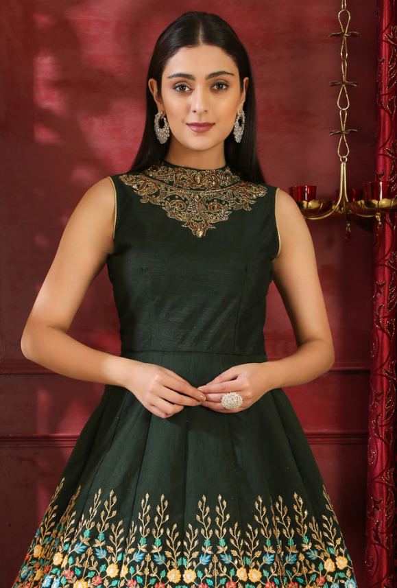 Dark Green Anarkali Suit - Desi Royale