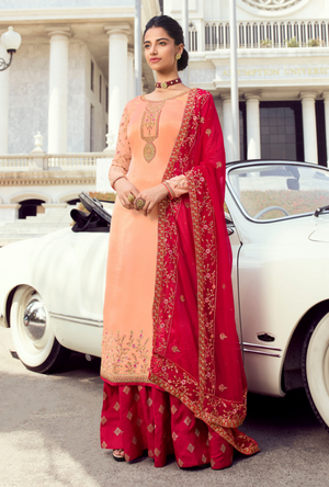 Peach and Red Palazzo Suit - Desi Royale