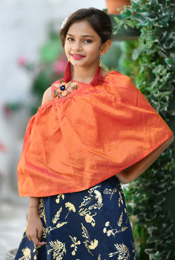 Kids Orange and Navy Blue Dress - Desi Royale