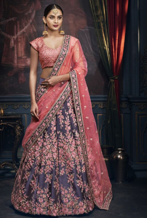 Blue and Pink Designer Bridal Lehenga Choli - Desi Royale