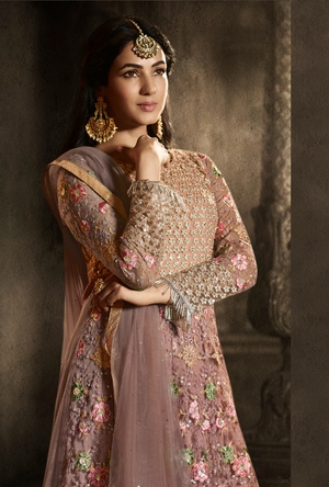 Dusty pink Anarkali Suit