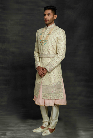 Pista and Peach Mens Sherwani