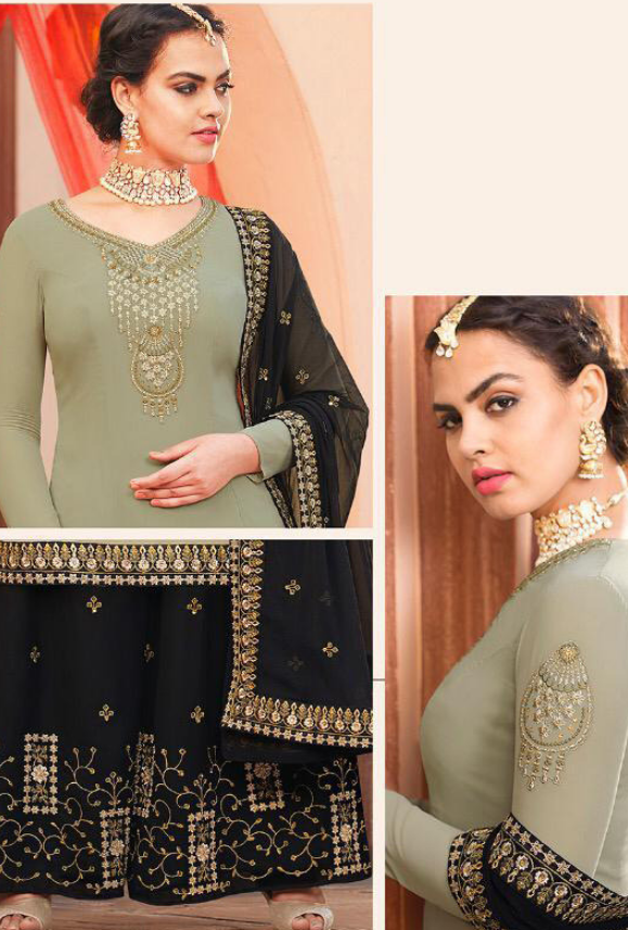 Sage Green and Black Sharara Salwar Kameez - Desi Royale