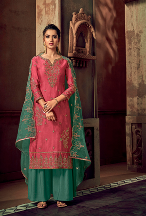 Pink and Green Palazzo Suit - Desi Royale