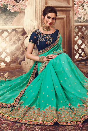 Firozi Green Designer Saree