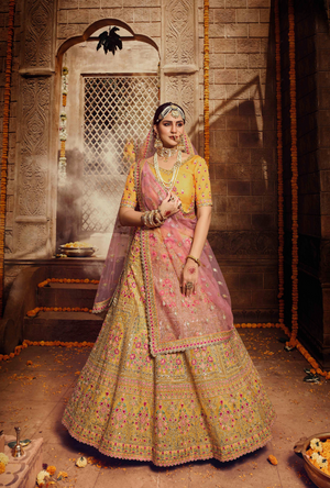 Yellow and Pink Lehenga Choli