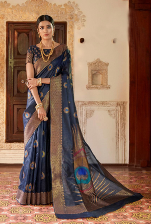 Steel Blue Kansula Silk Saree - Desi Royale