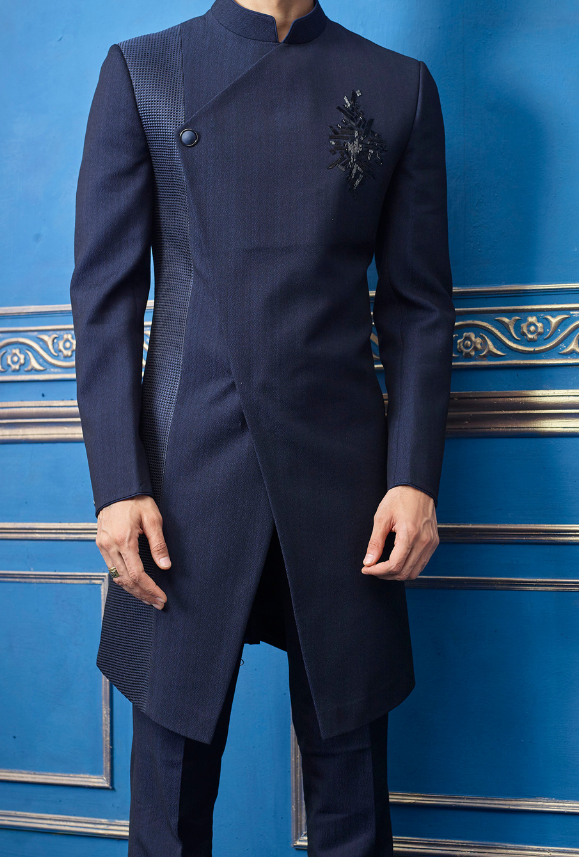 Navy Blue Mens Sherwani