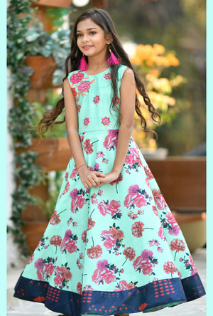 Kids Aqua Dress - Desi Royale