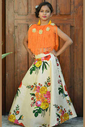 Kids Orange and Off White Lehenga Choli - Desi Royale