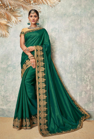 Green and Cream Silk Saree - Desi Royale