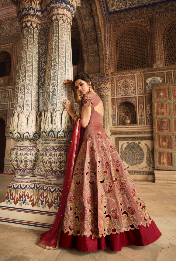 Peach and Maroon Bridal Anarkali Suit - Desi Royale