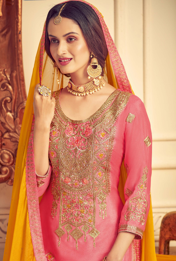 Pink and Yellow Party Wear Palazzo Suit