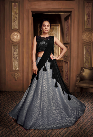 Grey and Black Lehenga Choli - Desi Royale