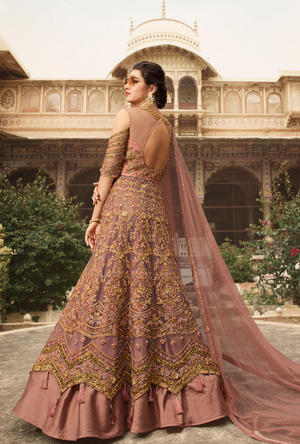 Dark Beige Bridal Anarkali Suit - Desi Royale